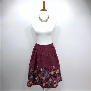 Modcloth Retro Skirt XS Floral D52